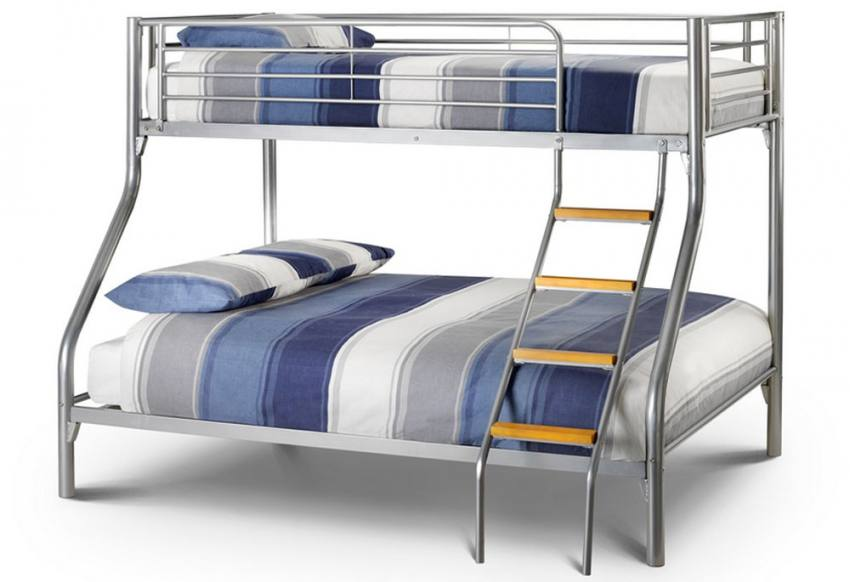 julian bowen atlas triple sleeper bunk bed aluminium finish including a double single. Black Bedroom Furniture Sets. Home Design Ideas