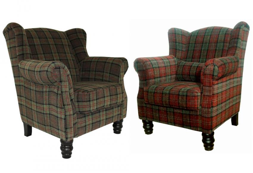 Xyz William Wing Chair Traditional Style Velvet Plaid In 3 Colours Dark Wood Turned