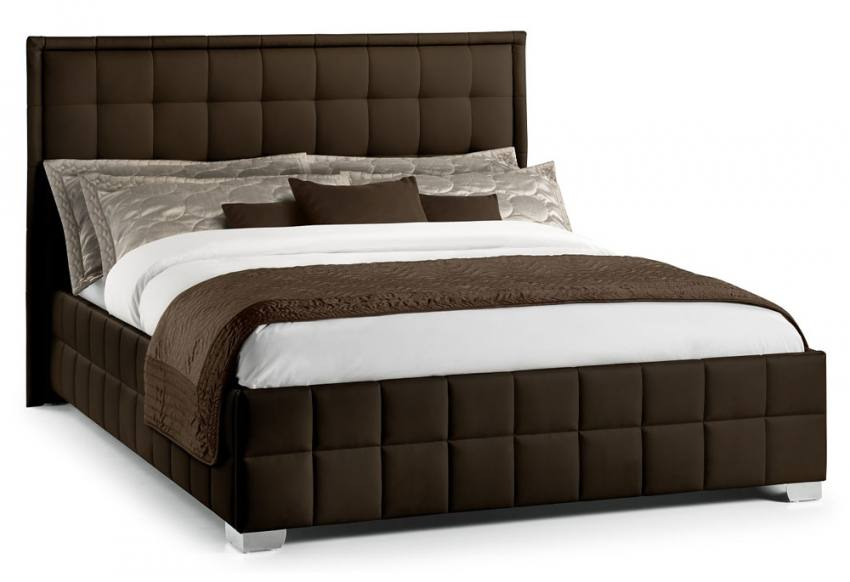 Julian bowen knightsbridge fabric beds brown faux for Double divan bed without headboard