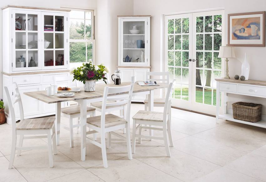 Statement furniture florence white matt painted washed for White and wood dining table and chairs
