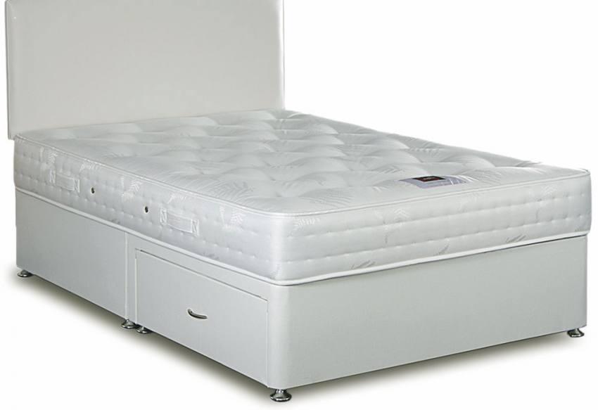Divan bed base single grey fabric divan bed set memory for Sprung double divan base only