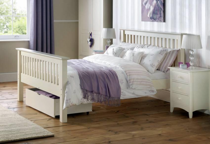 Julian bowen barcelona white shaker style beds single double king size high foot end for White shaker bedroom furniture