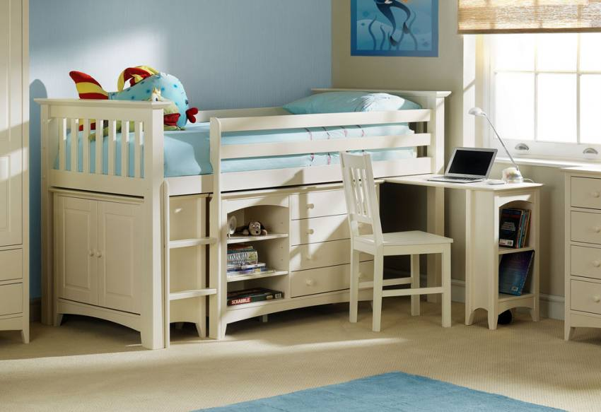Julian Bowen Cameo Sleep Station Stone White Finish Optional Mattresses Or White