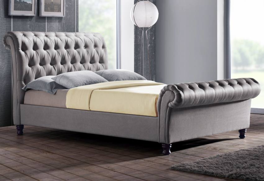 Birlea Furniture - Castello Upholstered Beds - Buttoned Headboard & Footboard - Grey Fabric ...