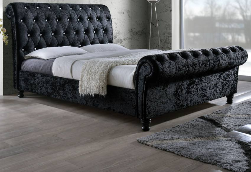 Black Ottoman Sleigh Bed
