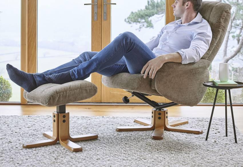 Fully Reclined. GFA - Shangri-La Swivel Recliner Chair u0026 Footstool ... & GFA - Shangri-La Swivel Recliner Chair u0026 Stool - Soft Textured ... islam-shia.org