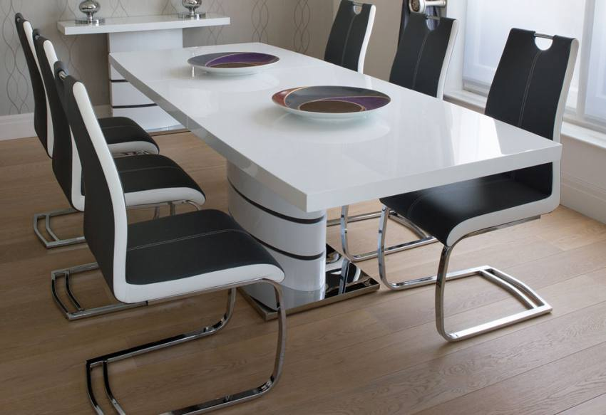 White Extending Dining Table And Chairs Home Furniture Design