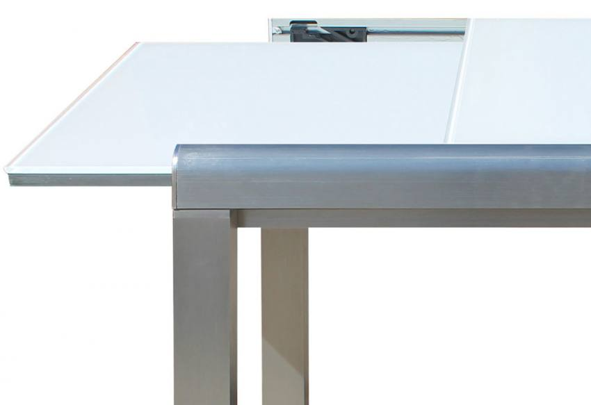 Extending Leaf Hnd Cremona Glass Extending Dining Table