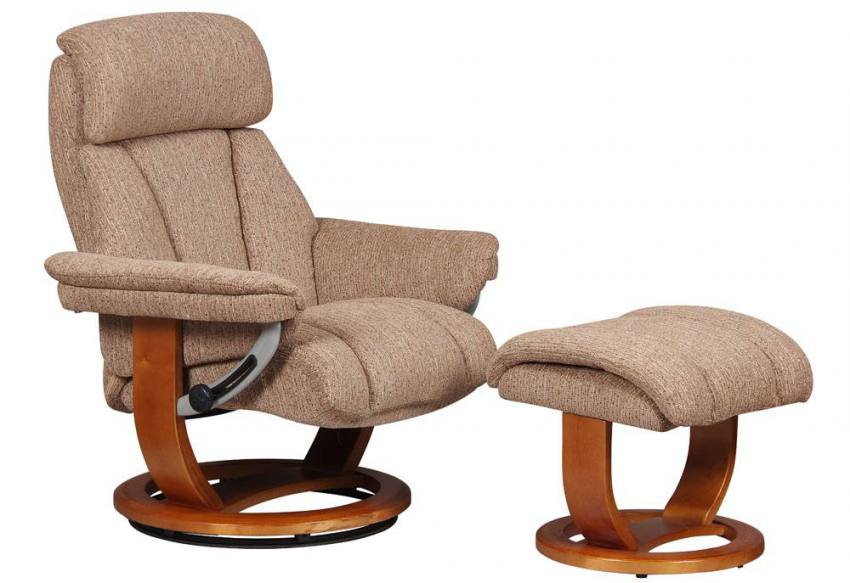 GFA - Portofino Fabric Swivel Recliner Chair & Footstool ...