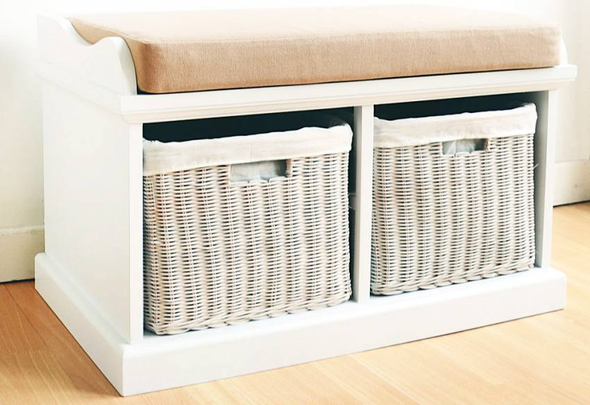 Statement furniture tetbury white bench with seat cushion large with 3 white wicker storage Storage bench cushion