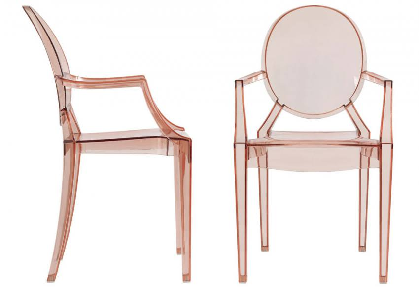 LPD Furniture Maison Ghost Chairs Clear Pink Smoke Polycarbonate Plas