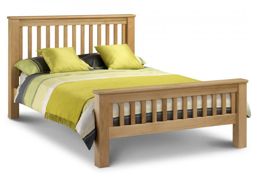 Oak Double Bed Low Foot End