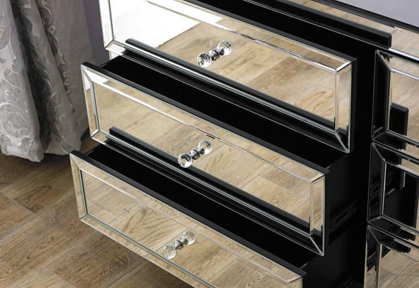 Birlea furniture valencia mirrored 6 drawer chest for Divan drawer runners
