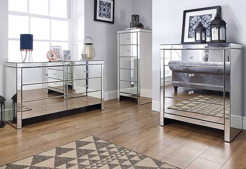 Birlea Furniture - Seville Mirrored 5 Drawer Narrow Chest Product Image