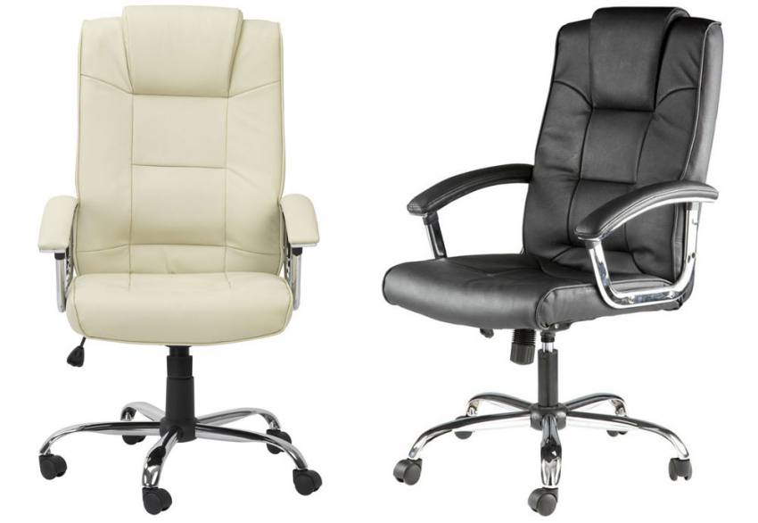 Alphason houston leather executive office chair for Cream office chair