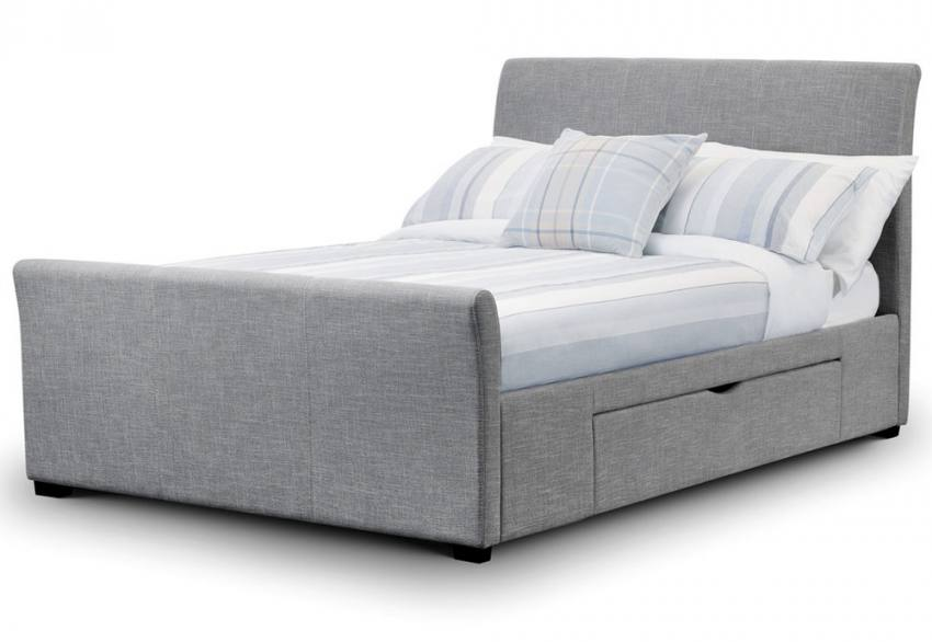 Julian Bowen Capri Upholstered Beds Light Grey Fabric Double Kingsize With Drawer Bases