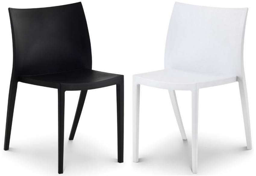 Julian bowen fresco stacking chairs white or black for Black plastic dining chairs