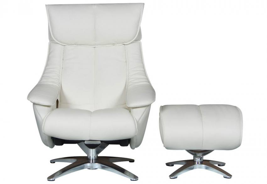 GFA - Alpha Leather Swivel Recliner & Footstool Product Image