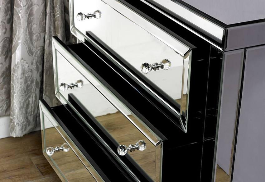 Birlea furniture valencia mirrored 3 drawer chest for Divan drawer runners