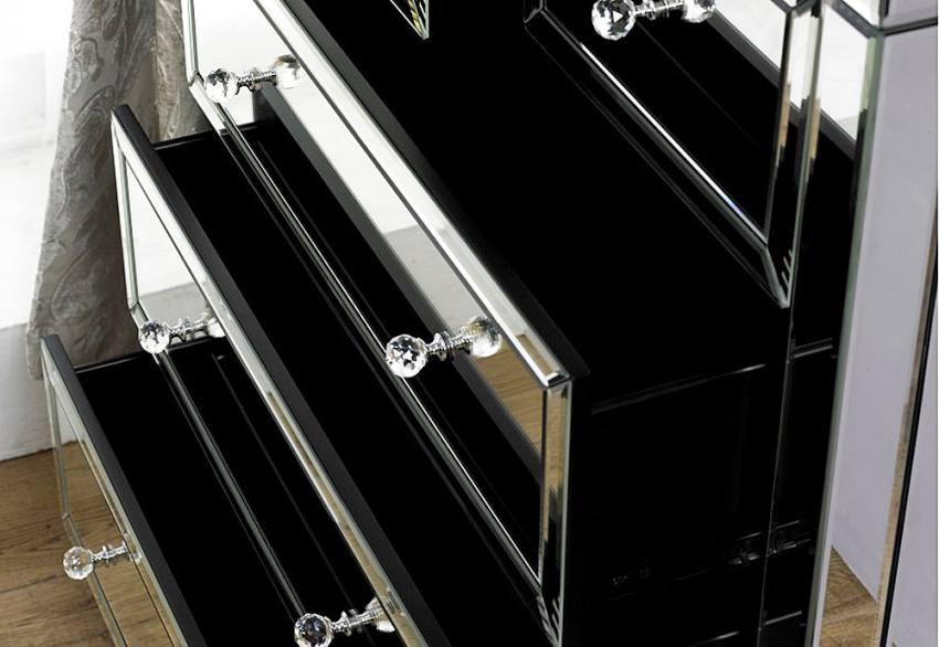 Birlea furniture valencia mirrored 3 2 drawer chest for Divan drawer runners