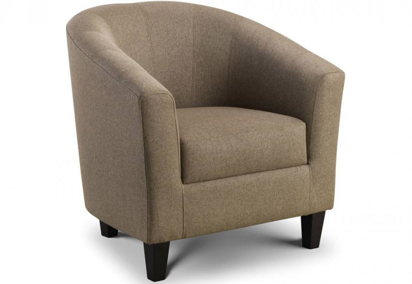 Julian Bowen - Hugo Tub Chair - Dark Wood Legs - Mushroom Linen ...