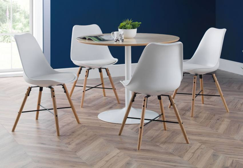 Swell Julian Bowen Blanco Oak Or White Dining Table Kari Caraccident5 Cool Chair Designs And Ideas Caraccident5Info