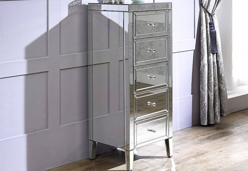 Birlea Furniture - Valencia Mirrored 5 Drawer Narrow Chest Product Image