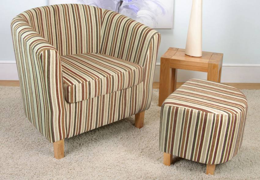 Shankar - Tub Chair & Footstool - Light Wood Legs - Chenille ...