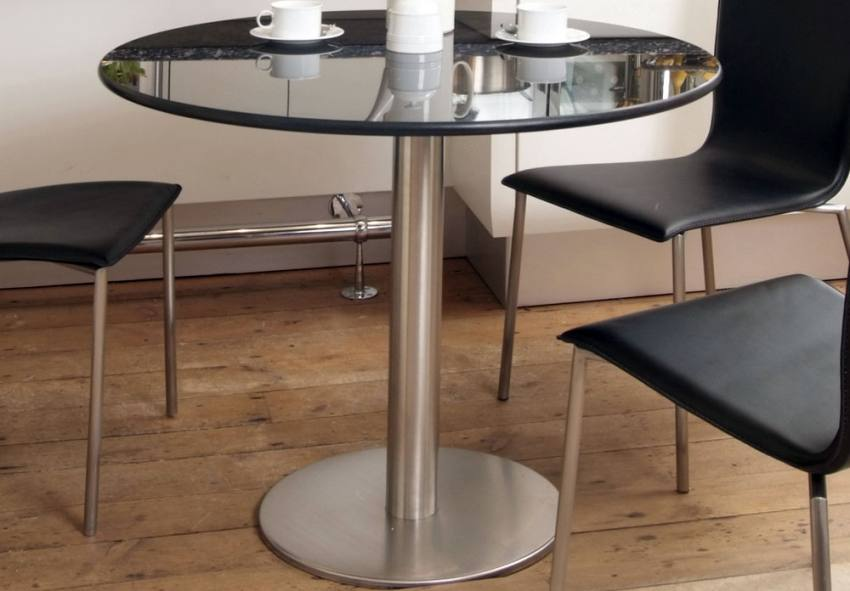 HND Helsinki Contemporary Dining Tables Brushed Steel With Glass Marble