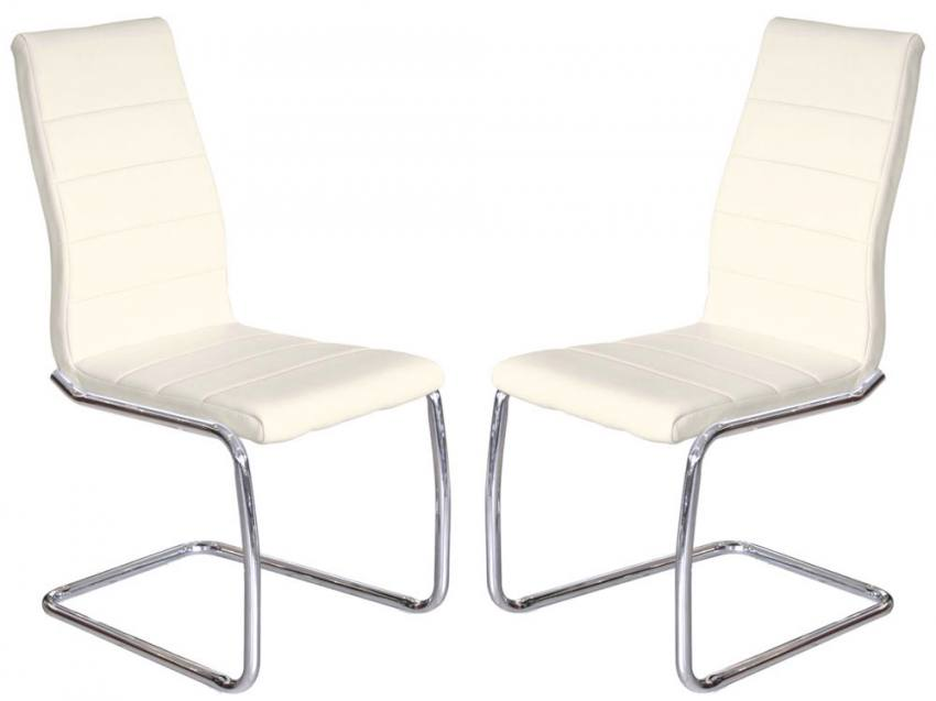 Febland Svenska Steel Chrome Frame Dining Chairs Cream